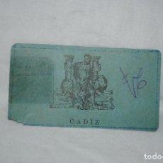 Documentos antiguos: PASE MUNICIPAL CADIZ .. Lote 171761233