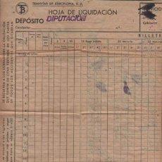 Documentos antiguos: DOCUMENTO TRANVIAS DE BARCELONA HOJA DE LIQUIDACIÓN - DIPUTACIÓN T B . Lote 171762503