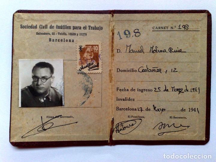 Documentos antiguos: CARNET DE IDENTIDAD,SOCIEDAD CIVIL DE INUTILES PARA EL TRABAJO,EXPEDIDO 1941 (DESCRIPCIÓN) - Foto 2 - 171788708