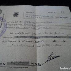 Documentos antiguos: RECIBO DE INGRESOS PROFESIONALES, DERMATOLOGO 1946. Lote 171795954