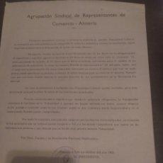 Documentos antiguos: AGRUPACIÓN SINDICAL DE REPRESENTACIÓN COMERCIALES ALMERÍA 1963. Lote 172165320