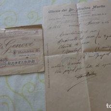 Documentos antiguos: ANTIGUA RECETA MEDICA.CLINICA DR.AVELINO MARTIN.FARMACIA LABORATORIO.DR.GENOVE.BARCELONA 1906. Lote 172179790