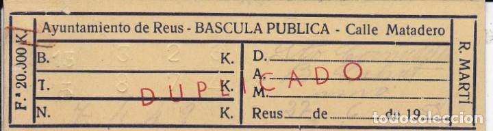 TICKET DE BÁSCULA CALLE MATADERO REUS 1958 (Coleccionismo - Documentos - Otros documentos)