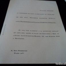 Documentos antiguos: INVITACION A LA BODA DEL HIJO DE MIGUEL FLETA Y LUISA PIERRICK, ALPHONSE FLETA. Lote 172470753