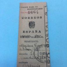 Documentos antiguos: GIRO POSTAL, CORREOS ESPAÑA, TALON PARA EL DESTINATARIO. Lote 172615457