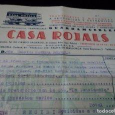 Documentos antiguos: FACTURA DE MUDANZA CASA ROJALS 1954. Lote 172630045