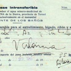 Documentos antiguos: CURIOSO PASE PARA BEBER AGUA MINERO-MEDICINAL, CAMARENA DE LA SIERRA TERUEL FUENTE DE LOS BAÑOS 1949. Lote 172704123