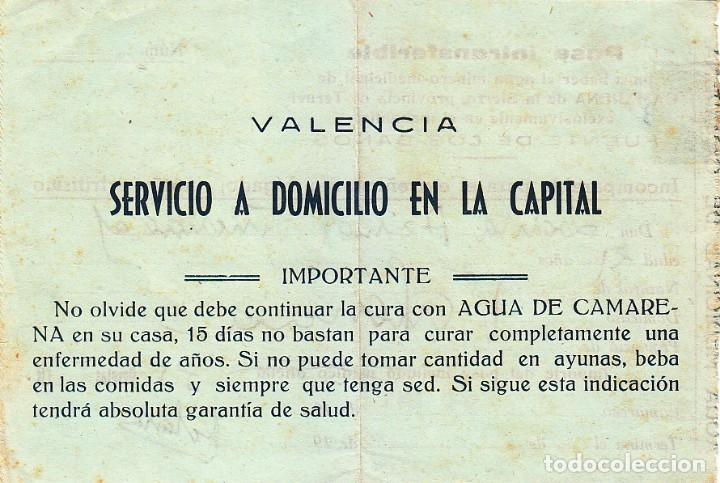 Documentos antiguos: Curioso pase para beber agua minero-medicinal, Camarena de la Sierra Teruel Fuente de los Baños 1949 - Foto 2 - 172704123