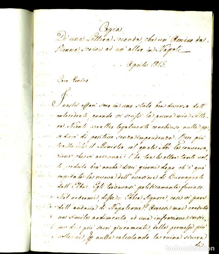 Documentos antiguos: CARTA 1815 - 32 PÁGINAS - HUÍDA DE NAPOLEÓN DE LA ISLA DE ELBA Y LA SITUACIÓN POLÍTICA DE 1815 - Foto 2 - 172715690