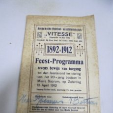 Documentos antigos: ARNHEMSCHE VOETBAL - EN ATHLETIEKCLUB. VITESSE. 1892 - 1912. PROGRAMA DE FIESTAS. Lote 172748934