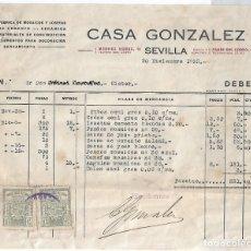 Documentos antiguos: CASA GONZALEZ,MOSAICOS Y LOSETAS DE SEVILLA,FACTURA CON SUS SELLOS TIMBRE DE 1933, ORIGINAL LEER. Lote 172891530