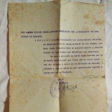 Documentos antiguos: CERTIFICADO SECRETARIO AYUNTAMIENTO REQUENA 1939. Lote 172903668