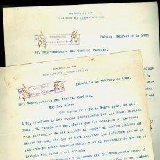 Documentos antiguos: FERROCARRILES - CUBA - HABANA - 1906 - 2 DOCUMENTOS . Lote 172991523