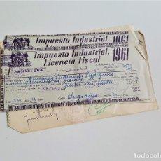 Documentos antiguos: TRES RECIBOS IMPUESTO INDUSTRIAL LICENCIA FISCAL1961 HACIENDA PUBLICA BARCELONA. Lote 173138807
