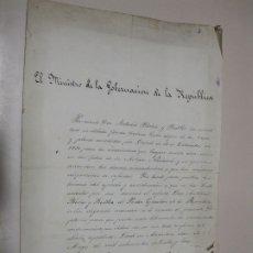 Documentos antiguos: DIPLOMA CONCESIÓN CRUZ Y PLACA POR HABER SERVIDO DOCE AÑOS EN LA MILICIA. 1873.FIRMA DE PI I MARGALL. Lote 173145332