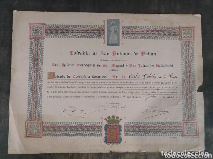 COFRADÍA DE SAN ANTONIO DE PADUA. REAL IGLESIA PARROQUIAL SAN MIGUEL Y SAN JULIÁN VALLADOLID. 1925. (Coleccionismo - Documentos - Otros documentos)