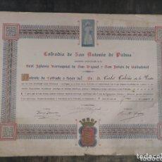 Documentos antiguos: COFRADÍA DE SAN ANTONIO DE PADUA. REAL IGLESIA PARROQUIAL SAN MIGUEL Y SAN JULIÁN VALLADOLID. 1925.. Lote 173200448