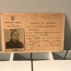 Documentos antiguos: CARNET PENSIÓN VIUDEDAD MUTUALIDAD LABORAL DE CONSTRUCCIÓN 1958 13X9 CM 269 PTAS. Lote 173535862