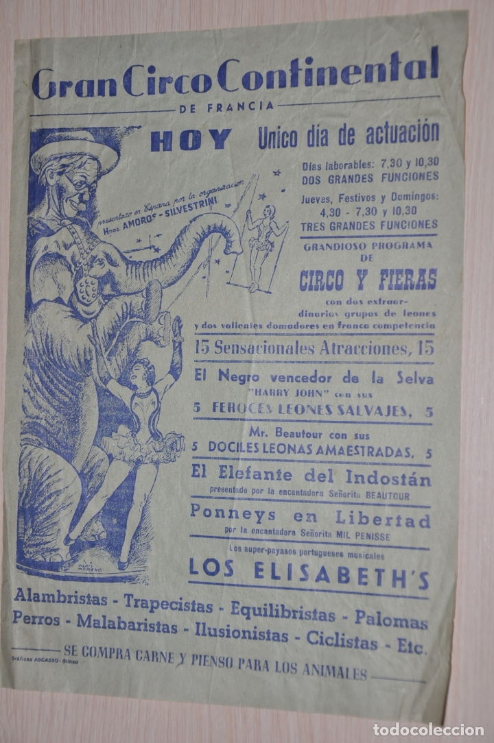 Documentos antiguos: cartel gran circo continental de francia - Foto 1 - 173572319