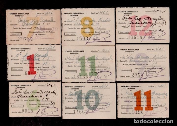 E23 STADIUM CASABLANCA DE ZARAGOZA CONJUNTO DE 9 RECIBOS MENSUALES DEL ABONO AÑOS 40-50S (Coleccionismo - Documentos - Otros documentos)