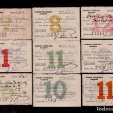 Documentos antiguos: E23 STADIUM CASABLANCA DE ZARAGOZA CONJUNTO DE 9 RECIBOS MENSUALES DEL ABONO AÑOS 40-50S. Lote 173622567