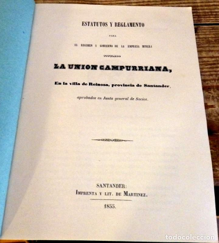 SANTANDER, 1855, ESTATUTOS Y REGLAMENTOS EMPRESA MINERA LA UNION CAMPURRIANA, REINOSA,14 PGS (Coleccionismo - Documentos - Otros documentos)