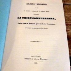 Documentos antiguos: SANTANDER, 1855, ESTATUTOS Y REGLAMENTOS EMPRESA MINERA LA UNION CAMPURRIANA, REINOSA,14 PGS. Lote 173626919