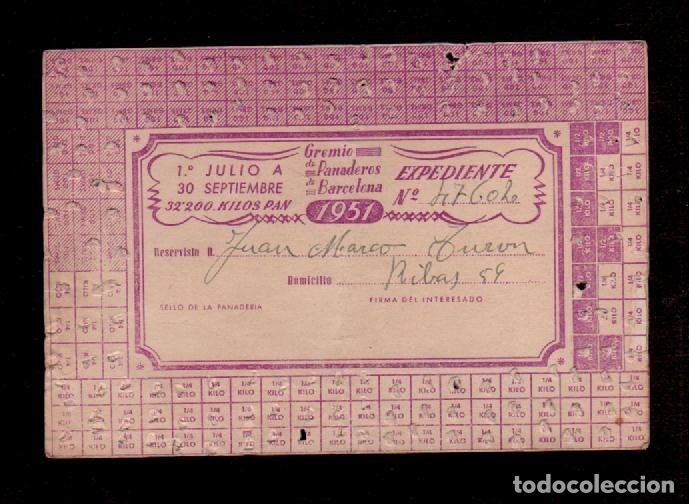 C10-0008 PANADERIA 1951 GREMIO DE PANADEROS DE BARCELONA, TARJETA RACIONAMIENTO TOTALMENTE USADA. (Coleccionismo - Documentos - Otros documentos)