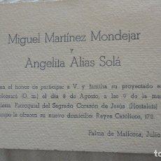 Documenti antichi: ANTIGUA TARJETA ENLACE MATRIMONIAL.MIGUEL MARTINEZ MONDEJAR.ANGELA ALIAS SOLÁ.PALMA MALLORCA 1946. Lote 173690009