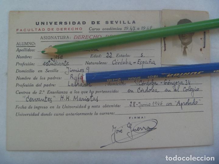 UNIVERSIDAD SEVILLA - FACULTAD DE DERECHO: FICHA DERECHO ROMANO. CURSO 1947 A 1958 (Coleccionismo - Documentos - Otros documentos)