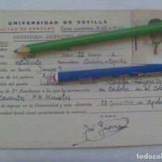 Documentos antiguos: UNIVERSIDAD SEVILLA - FACULTAD DE DERECHO: FICHA DERECHO ROMANO. CURSO 1947 A 1958. Lote 173796343