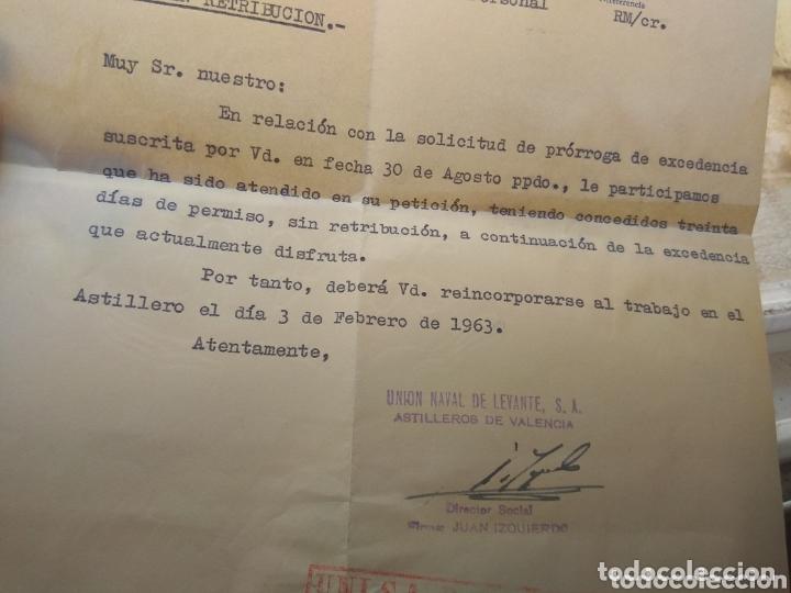 Documentos antiguos: Carta Unión Naval de Levante - Prórroga Sin Retribución - año 1962 - - Foto 3 - 173822209