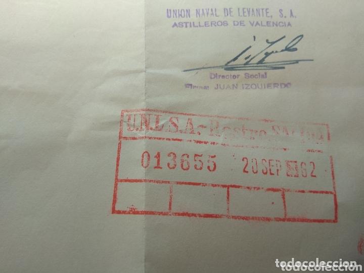 Documentos antiguos: Carta Unión Naval de Levante - Prórroga Sin Retribución - año 1962 - - Foto 4 - 173822209