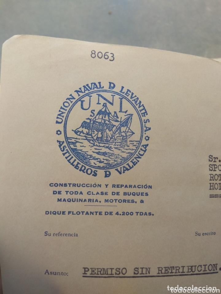 CARTA UNIÓN NAVAL DE LEVANTE - PRÓRROGA SIN RETRIBUCIÓN - AÑO 1962 - (Coleccionismo - Documentos - Otros documentos)
