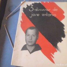 Documentos antiguos: FOLLETO AÑOS 50, 3 DISCURSOS DE JOSE ANTONIO, FALANGE.. Lote 173938712