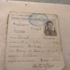 Documentos antiguos: ANTIGUA CARTILLA SEGURO DE ENFERMEDAD - EMPLEADO UNIÓN NAVAL LEVANTE -. Lote 173997419