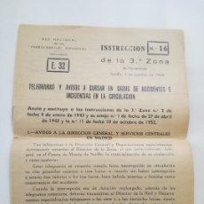 Documentos antiguos: RENFE - INSTRUCCION 16 - TELEGRAMAS Y AVISOS EN CASOS DE ACCIDENTES - SEVILLA 1 OCT 1968. Lote 174090012