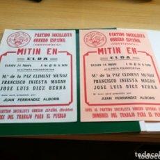 Documentos antiguos: DOS FOLLETOS DE PUBLICIDAD ELECTORAL DEL PSOE EN ELDA (ALICANTE). AÑOS 80. Lote 174252927