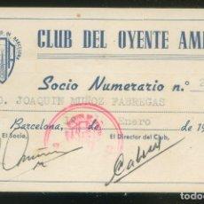 Documentos antiguos: CARNET 1956 *RADIO JUVENTUD DE BARCELONA - CLUB DEL OYENTE AMIGO* MEDS: 72X11 MMS.. Lote 174306963