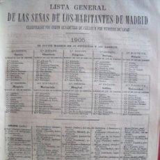 Documentos antiguos: ANUARIO DEL COMERCIO.-LISTA GENERAL DE LAS SEÑAS DE LOS HABITANTES DE MADRID.-MADRID.-AÑO 1905.. Lote 174408577