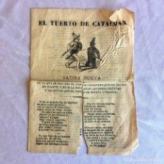 Documenti antichi: PUBLICACION PANFLETO REPÚBLICA ESPAÑOLA. EL TUERTO DE CATACHAN. Lote 174455953