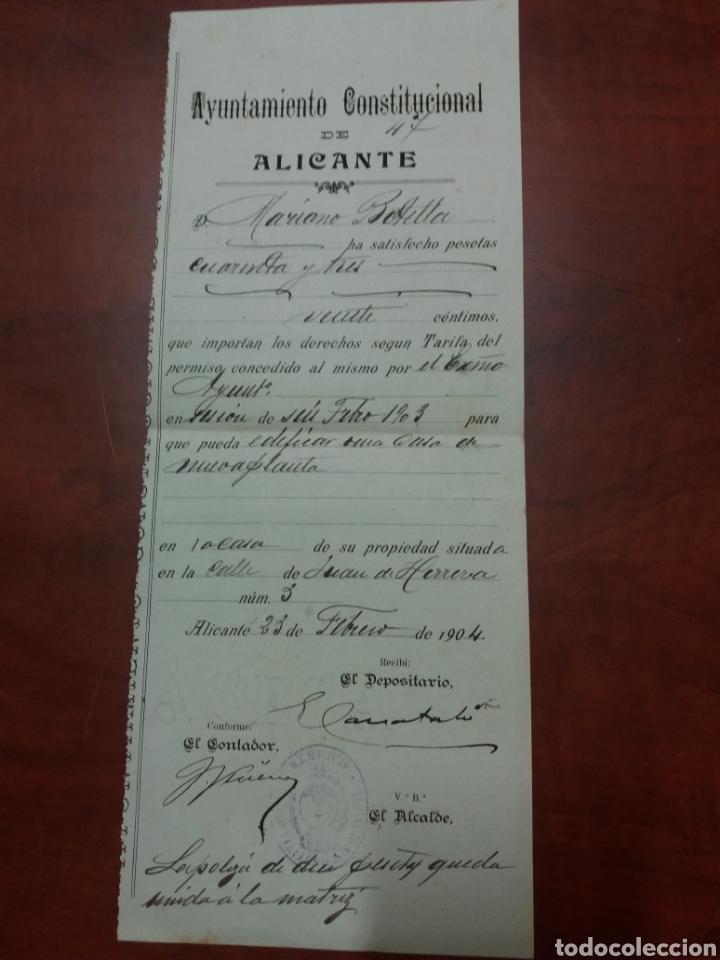ALICANTE , AYUNTAMIENTO CONSTITUCIONAL 1904. (Coleccionismo - Documentos - Otros documentos)