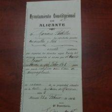 Documentos antiguos: ALICANTE , AYUNTAMIENTO CONSTITUCIONAL 1904.. Lote 174473514