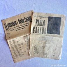 Documentos antiguos: 2 PUBLICACIONES SOBRE EL ASESINATO DE PABLO CASADO QUE CONMOCIONO A LA SOCIEDAD DE LA ÉPOCA DE 1928. Lote 174480098