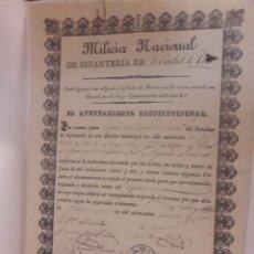 Documentos antiguos: TUY DOCUMENTO MILICIA NACIONAL DE INFANTERÍA CIUDAD DE TUY. Lote 174658840