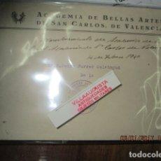 Documentos antiguos: SOBRE NOMBRAMIENTO DE ACADEMICO ACADEMIA BELLAS ARTES VALENCIA SAN CARLOS PEDRO FERRER CALATAYUD. Lote 174999105