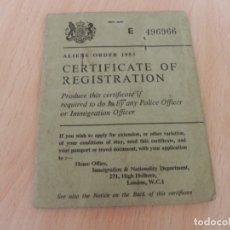 Documentos antiguos: CERTIFICADO DE REGISTRO INMIGRACION LONDRES / AÑO 1967 / ESPAÑOL EMIGRANTE . Lote 175157217