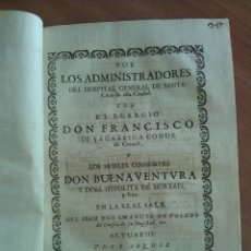 Documentos antiguos: 1728 PLEYTO HEREDITARIO QUE NACE EN 1643 - HOSPITAL SANTA CREU - BARCELONA, CONDE DE CREIXELL ....... Lote 175251865