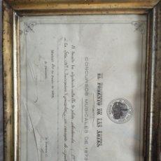 Documentos antiguos: DIPLOMA EL FOMENTO DE LAS ARTES MADRID 1875. Lote 175286238
