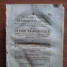 Documentos antiguos: 1723 SATISFACIÓN LEGAL - SANTA SALVADOR DEL VENDRELL. VENDRELL. CREXELL.... Lote 175454518